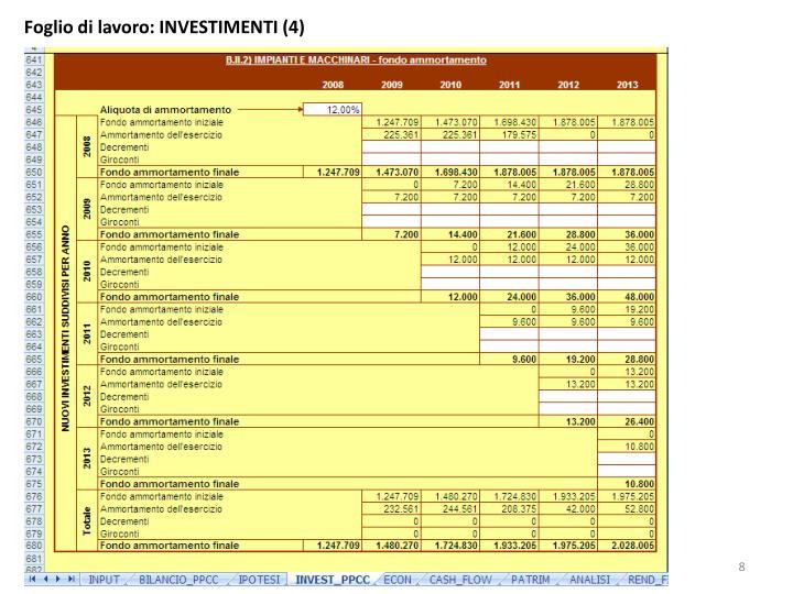 Foglio di lavoro: INVESTIMENTI (4)