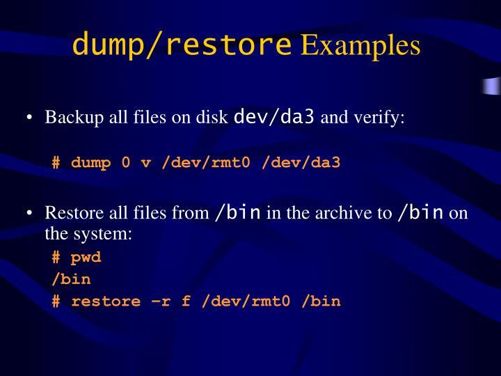 dump/restore