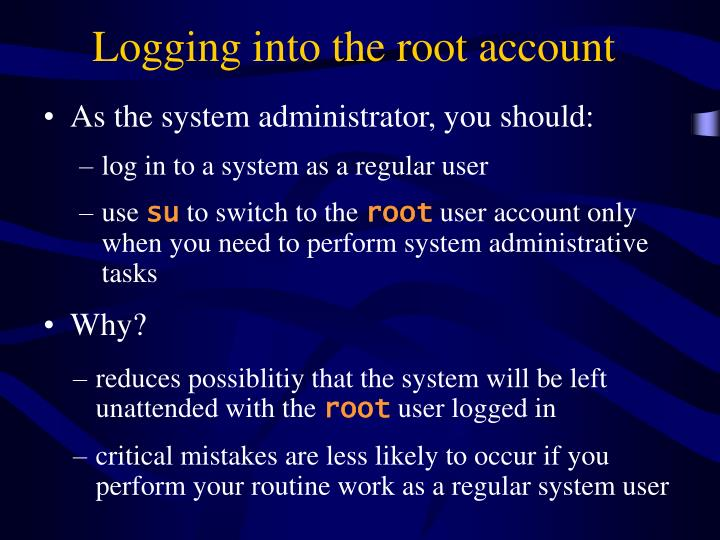 Logging into the root account