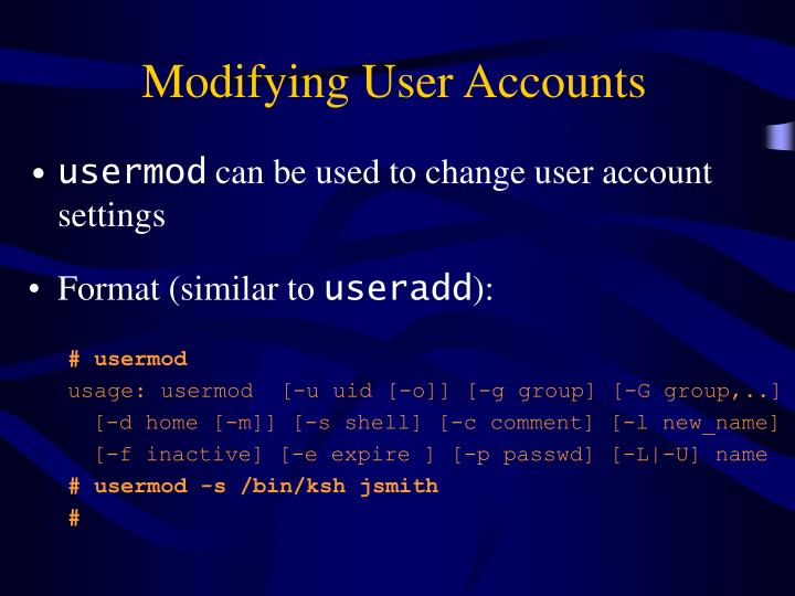 Modifying User Accounts
