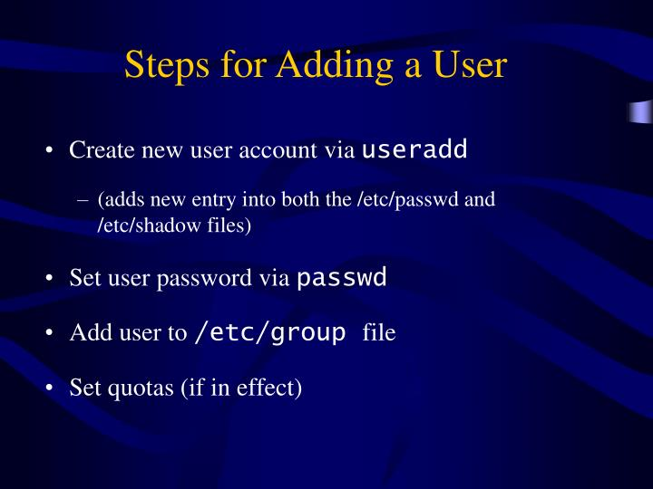Steps for Adding a User