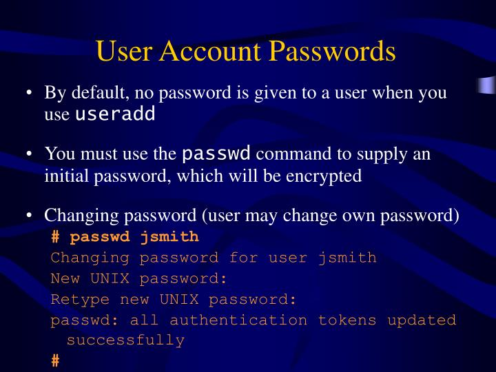 User Account Passwords