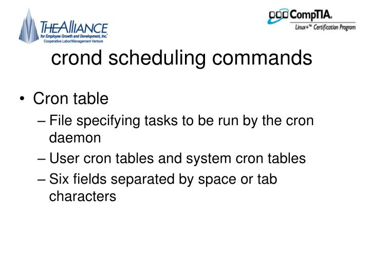 crond scheduling commands