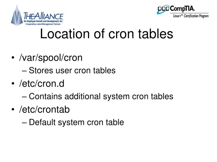 Location of cron tables