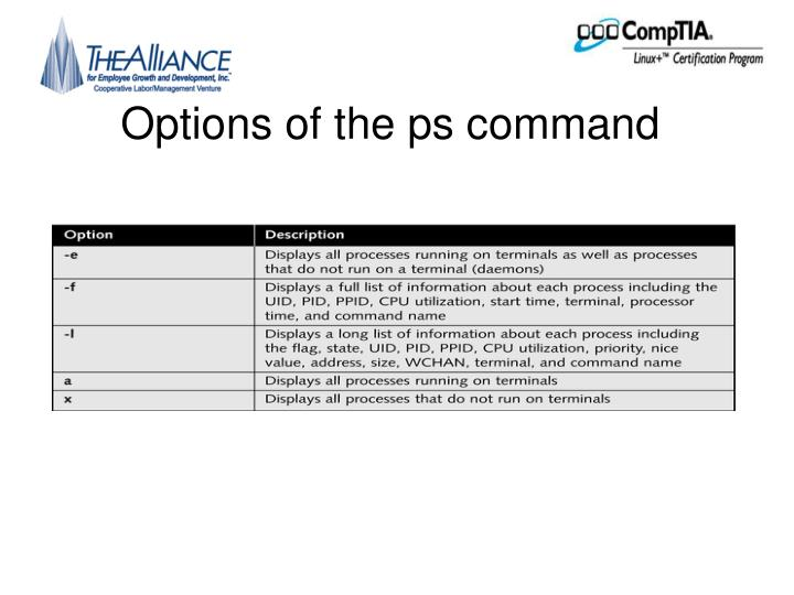 Options of the ps command