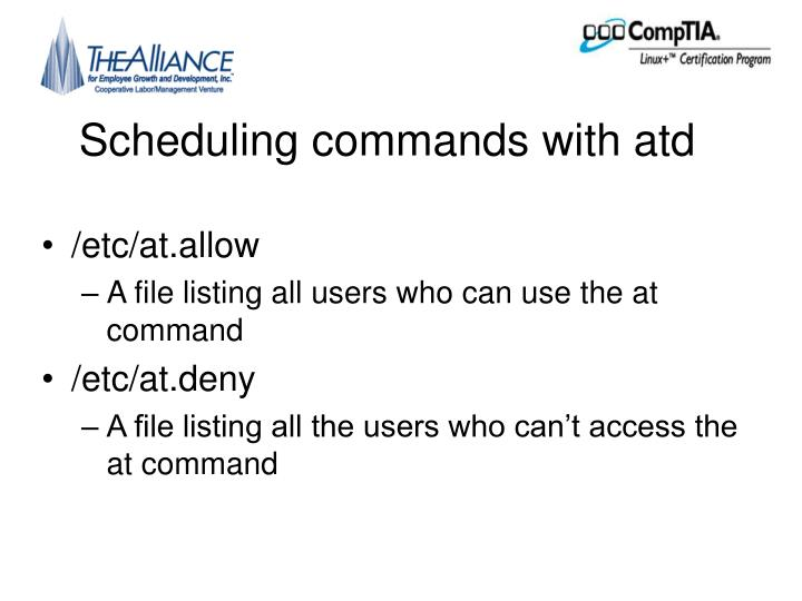 Scheduling commands with atd