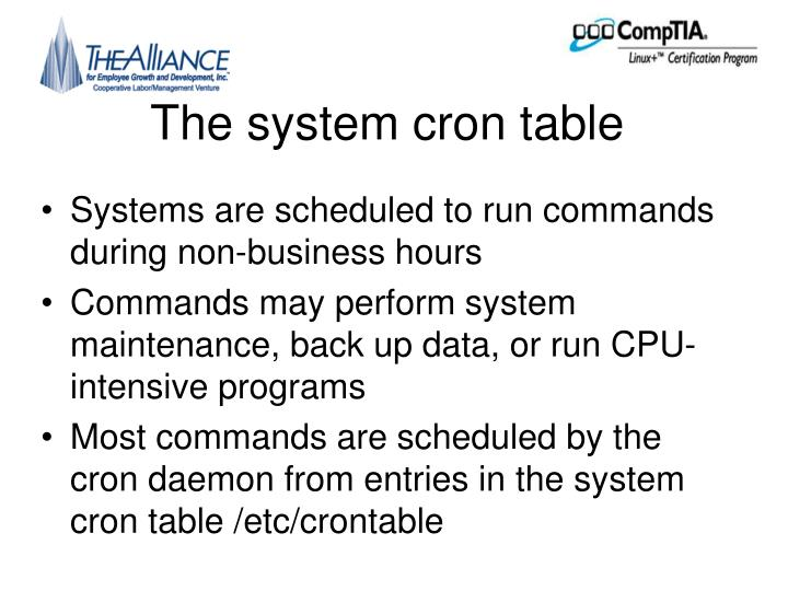 The system cron table