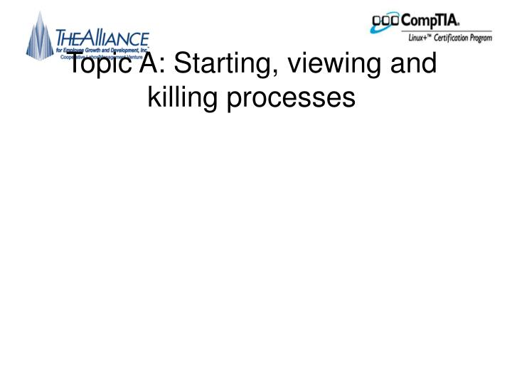 Topic a starting viewing and killing processes