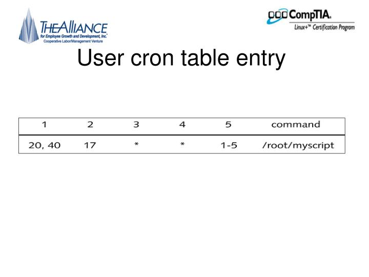 User cron table entry