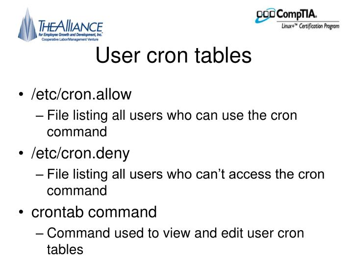 User cron tables