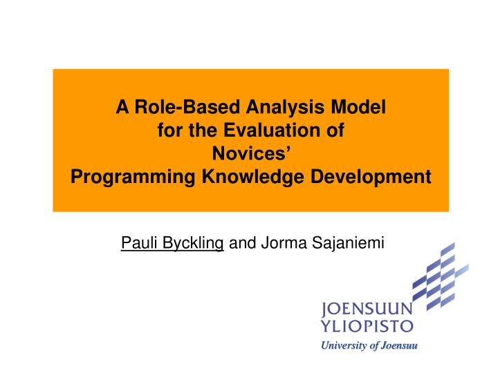 A Role-Based Analysis Model