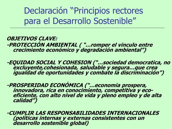 """Declaración """"Principios rectores para el Desarrollo Sostenible"""""""