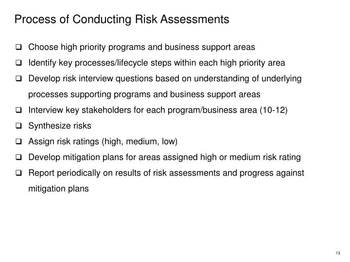 Process of Conducting Risk Assessments