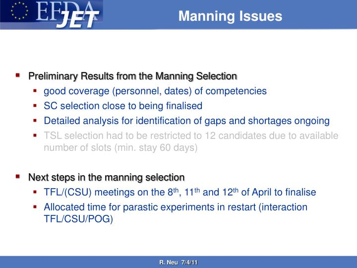 Manning issues