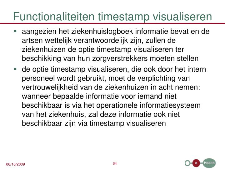 Functionaliteiten timestamp visualiseren