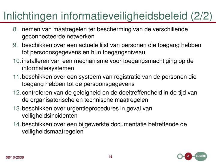 Inlichtingen informatieveiligheidsbeleid (2/2)