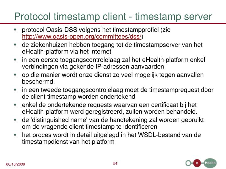 Protocol timestamp client - timestamp server