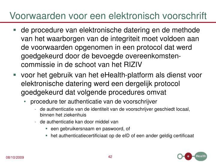 Voorwaarden voor een elektronisch voorschrift