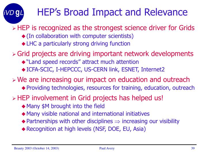 HEP's Broad Impact and Relevance