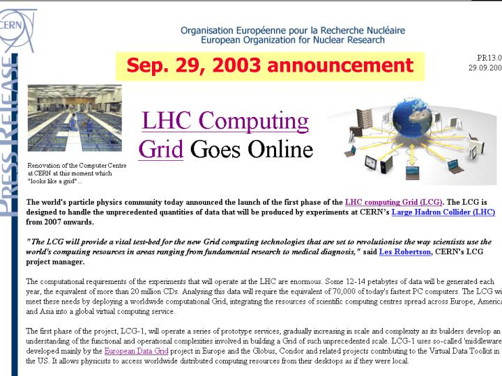 Sep. 29, 2003 announcement