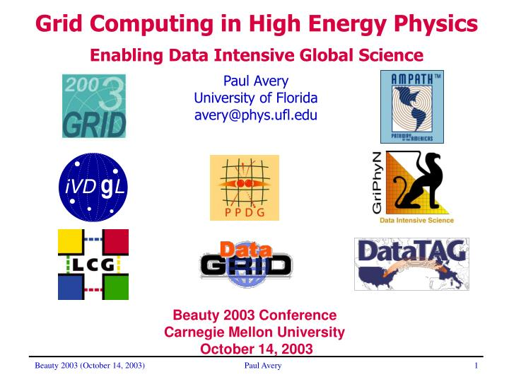 Grid Computing in High Energy Physics