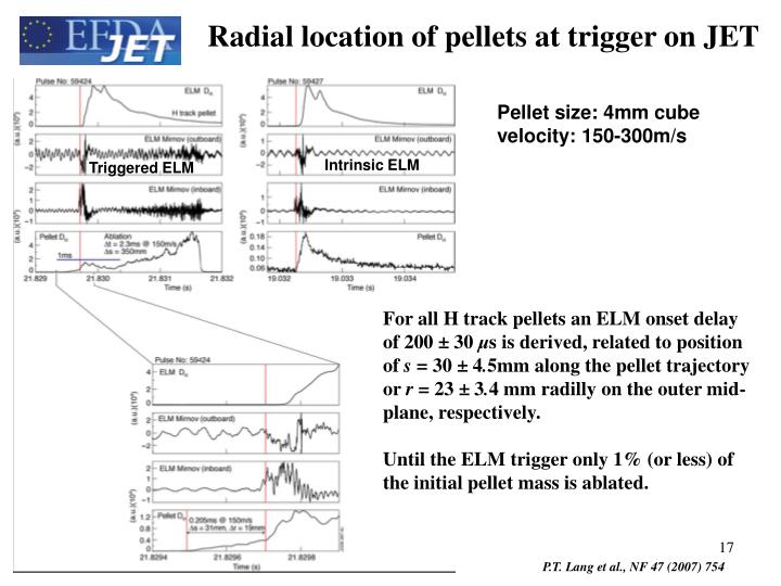 Radial location of pellets at trigger on JET