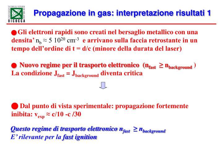 Propagazione in gas: interpretazione risultati 1