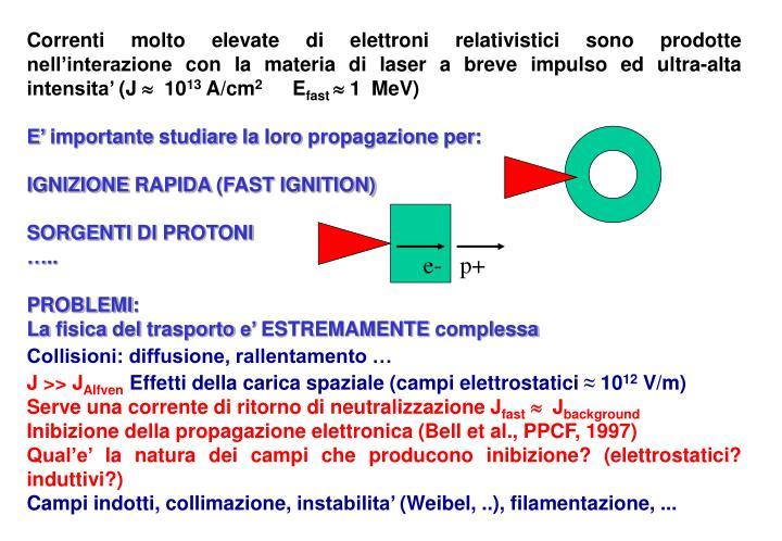 Correnti molto elevate di elettroni relativistici sono prodotte nell'interazione con la materia di laser a breve impulso ed ultra-alta intensita' (J
