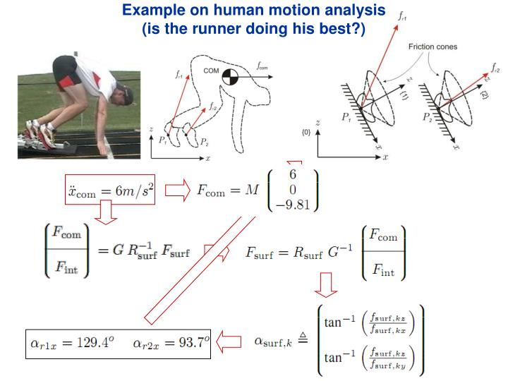 Example on human motion analysis