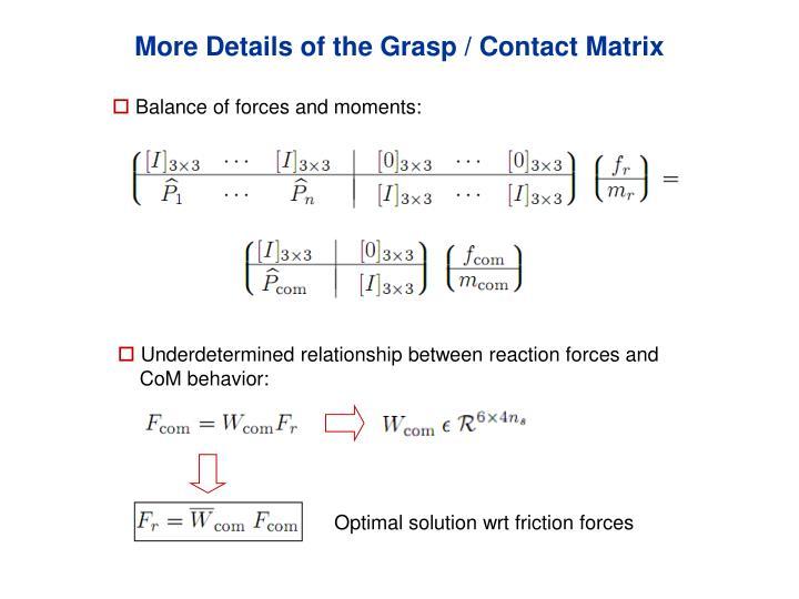 More Details of the Grasp / Contact Matrix