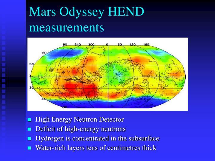 Mars Odyssey HEND measurements