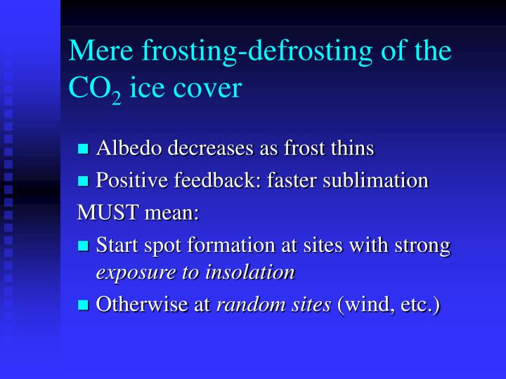 Mere frosting-defrosting of the CO