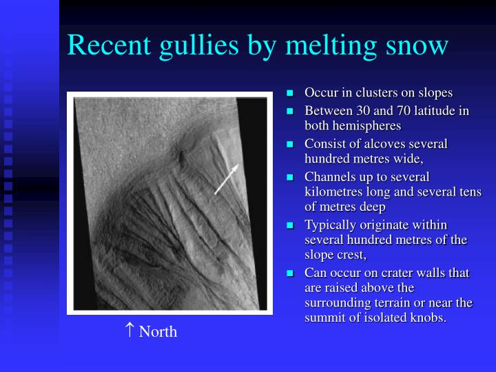Recent gullies by melting snow