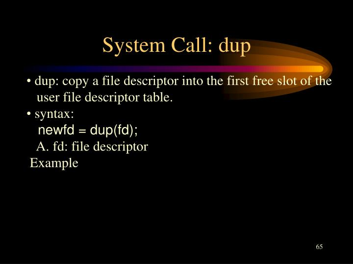 System Call: dup