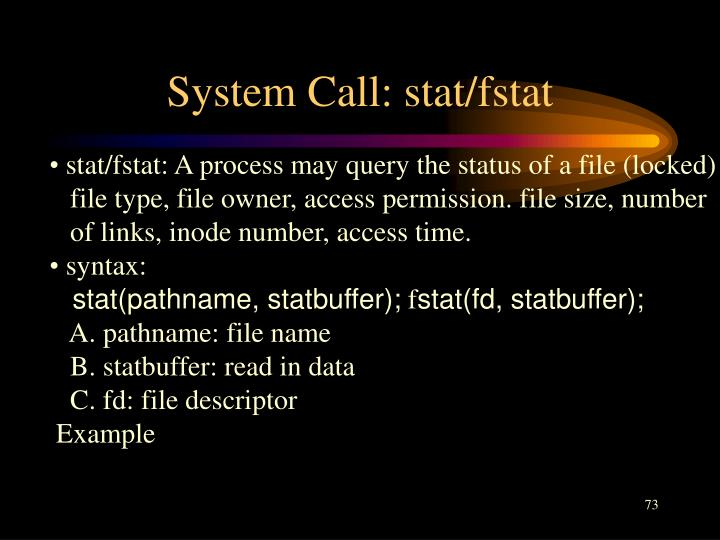 System Call: stat/fstat