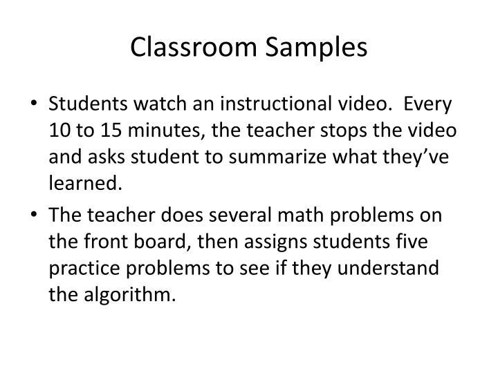 Classroom Samples