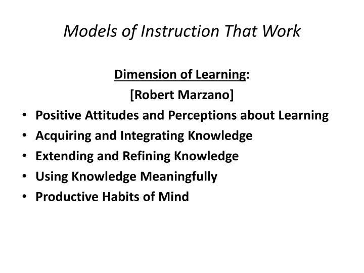 Models of Instruction That Work