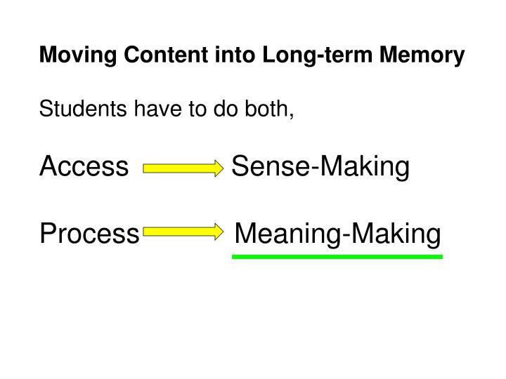Moving Content into Long-term Memory
