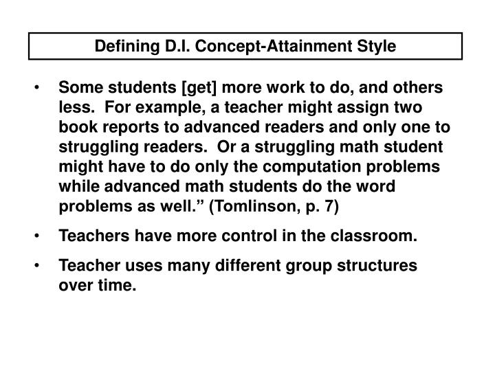 Defining D.I. Concept-Attainment Style