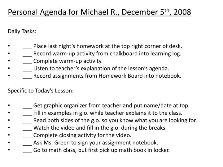 Personal Agenda for Michael R., December 5
