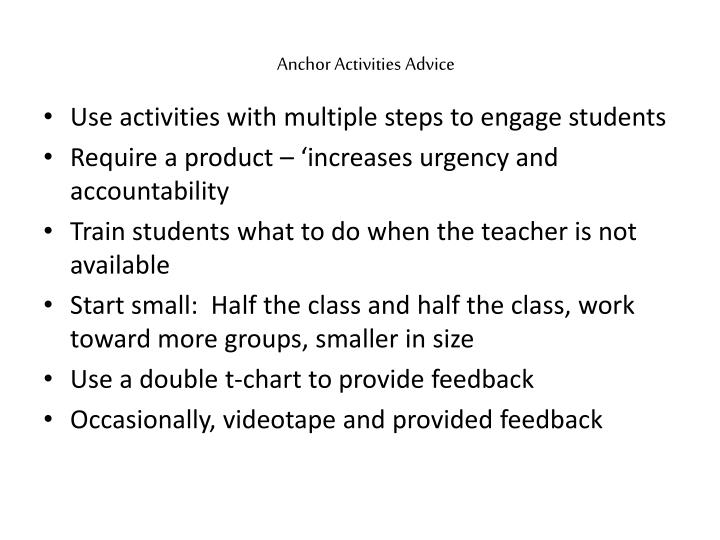 Anchor Activities Advice