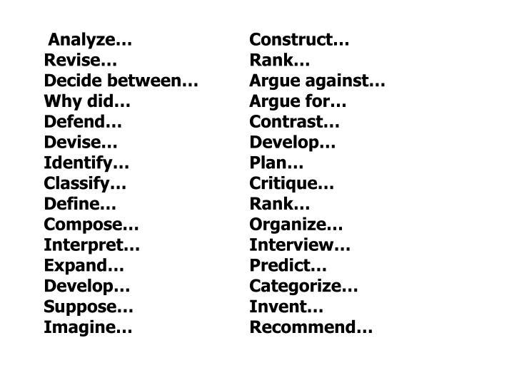 Analyze…Construct…