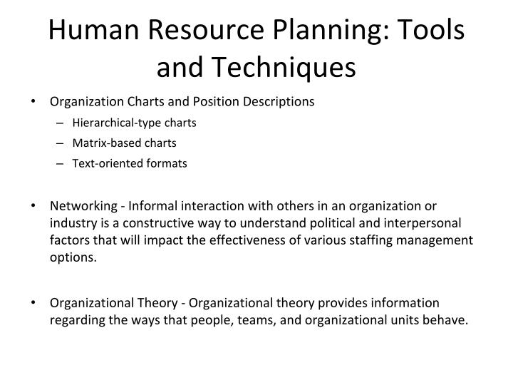 Human Resource Planning: Tools and Techniques