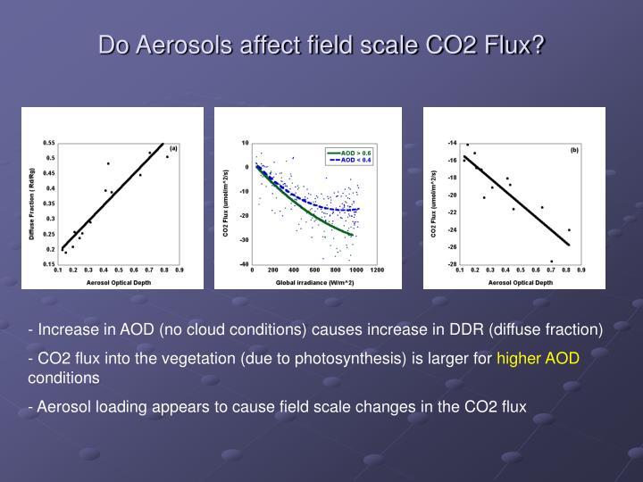 Do Aerosols affect field scale CO2 Flux?