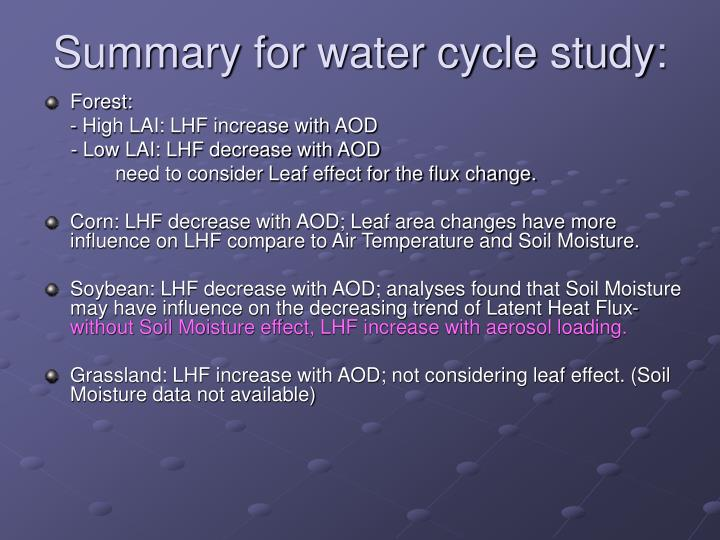 Summary for water cycle study: