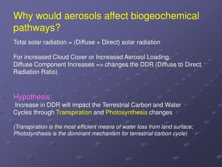 Why would aerosols affect biogeochemical pathways?