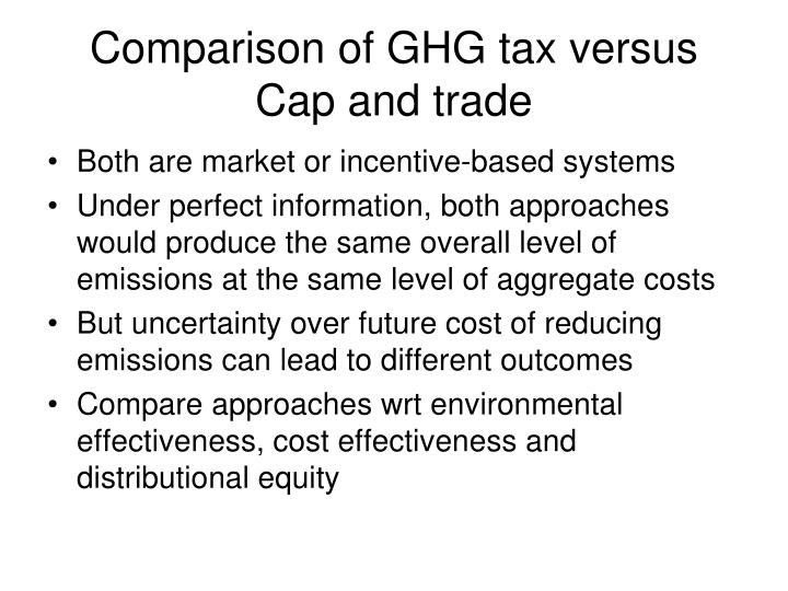 Comparison of GHG tax versus Cap and trade