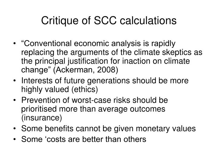 Critique of SCC calculations