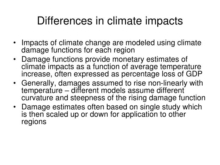 Differences in climate impacts