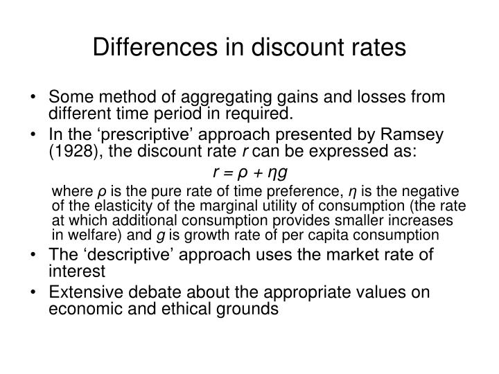 Differences in discount rates